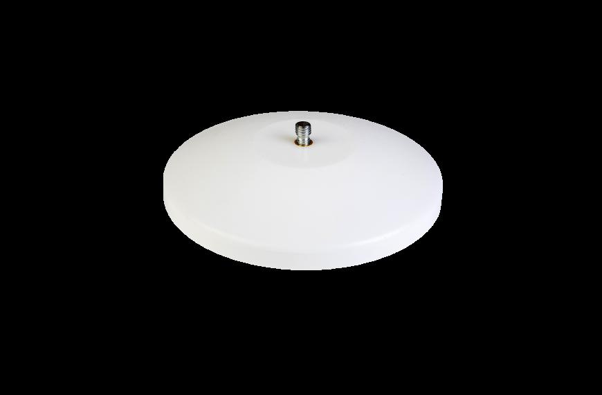 Witte platte sierknop (uitwendig/M10)