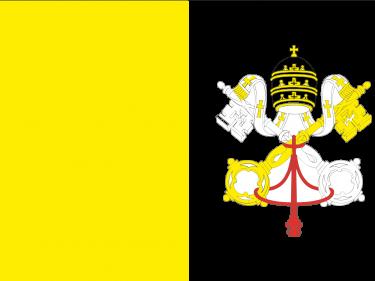 Vlag Vaticaanstad (met wapen)