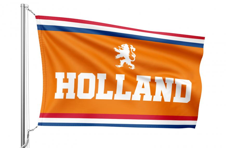 Vlag Holland met Nederlandse oranje kleuren