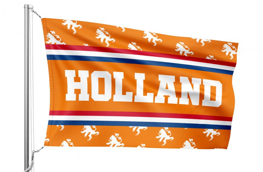 Vlag Holland met oranje motief van Nederlandse leeuw