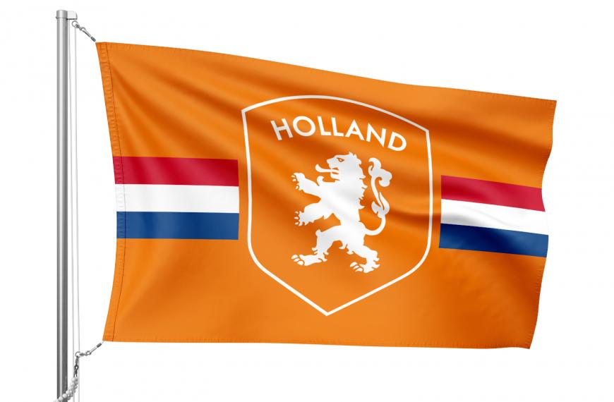 Oranje vlag met Nederlands schild