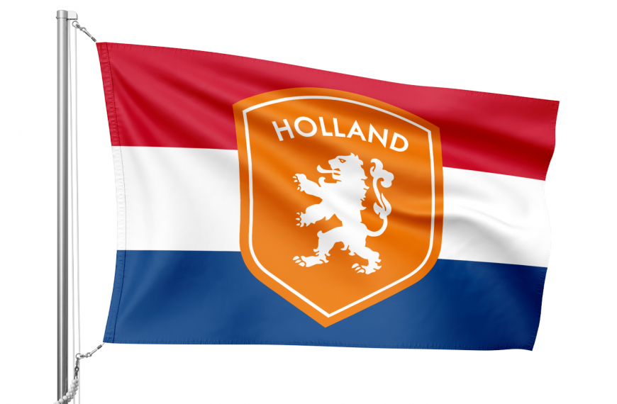 Nederlandse vlag met oranje schild